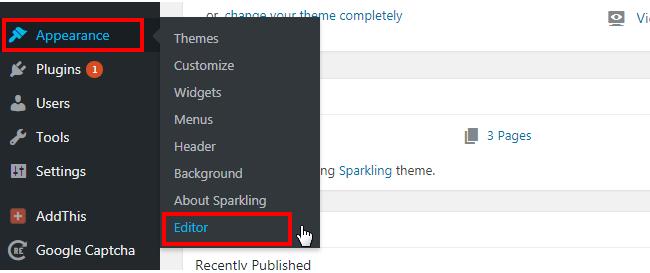Click on Editor in WordPress