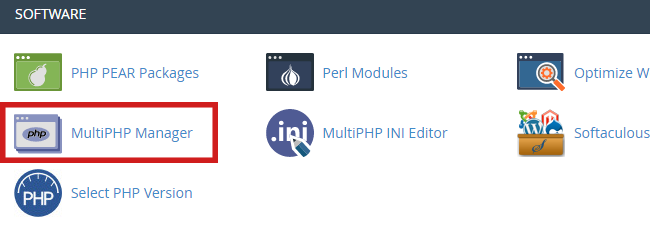 click on multiphp manager in cpanel