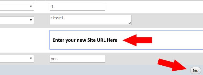 Save Site URL in phpMyadmin