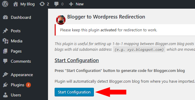 Click on Start Configuration button